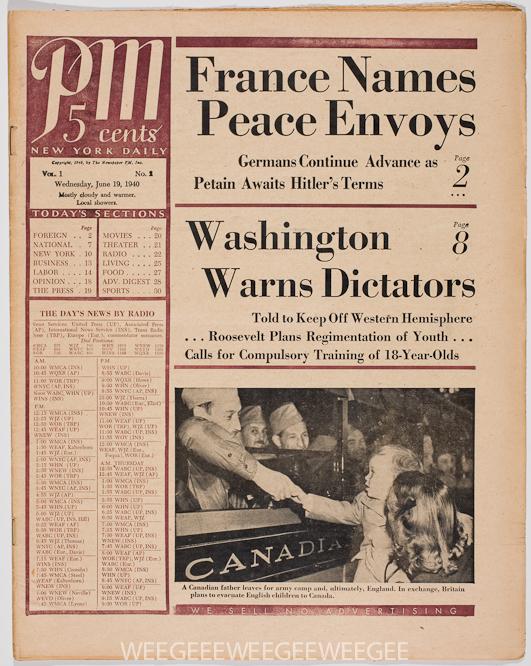 PM Daily, newspaper, 1940
