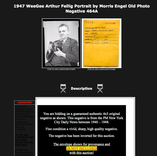 Negative Of Weegee Made By Morris Engel Sold On Ebay For 135