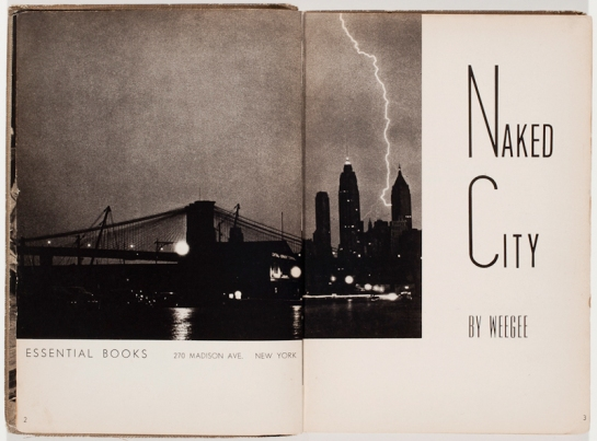 Weegee's book Naked City with a photo of the Brooklyn Bridge
