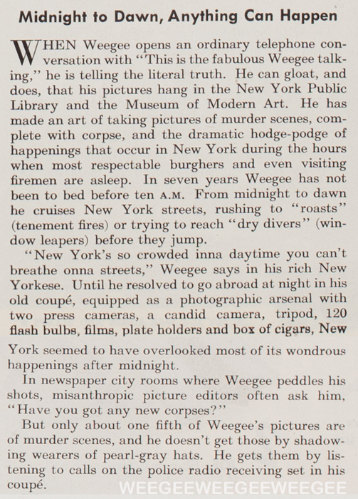Weegee text, May 22, 1943