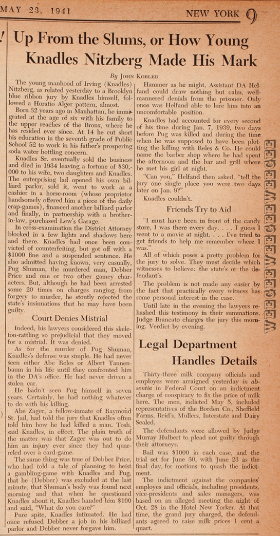 Newspaper PM, article about Murder Inc. member or associate