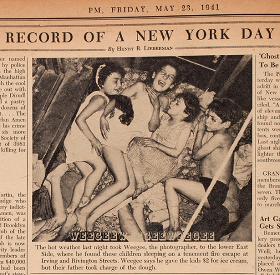 PM newspaper, Weegee photo of kids on fire escape